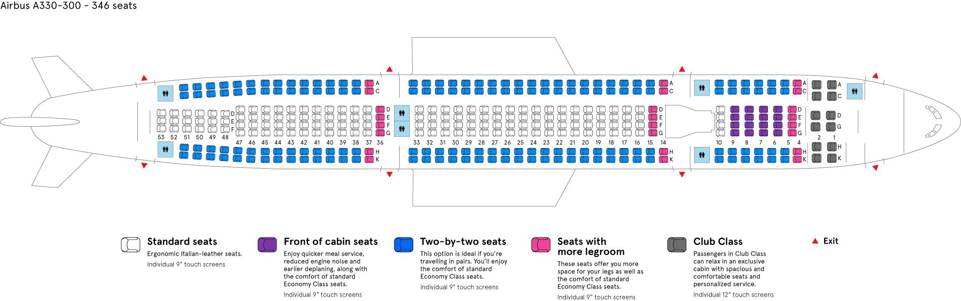 Air Transat Airbus A330-300 aircraft cabin