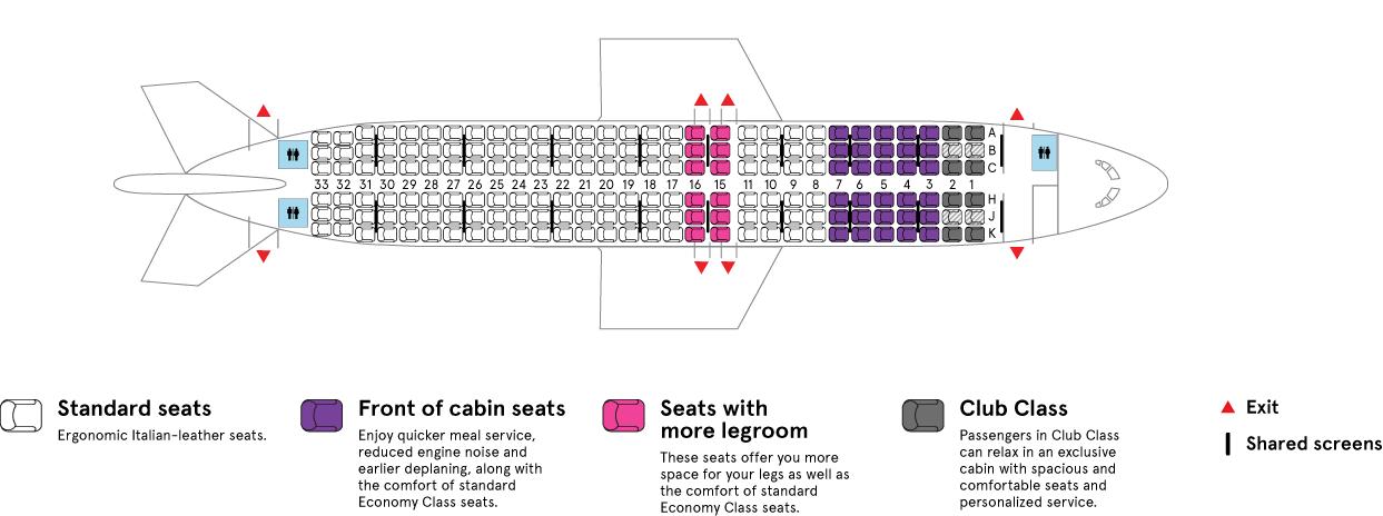 Air Transat Airbus A320-200 aircraft cabin