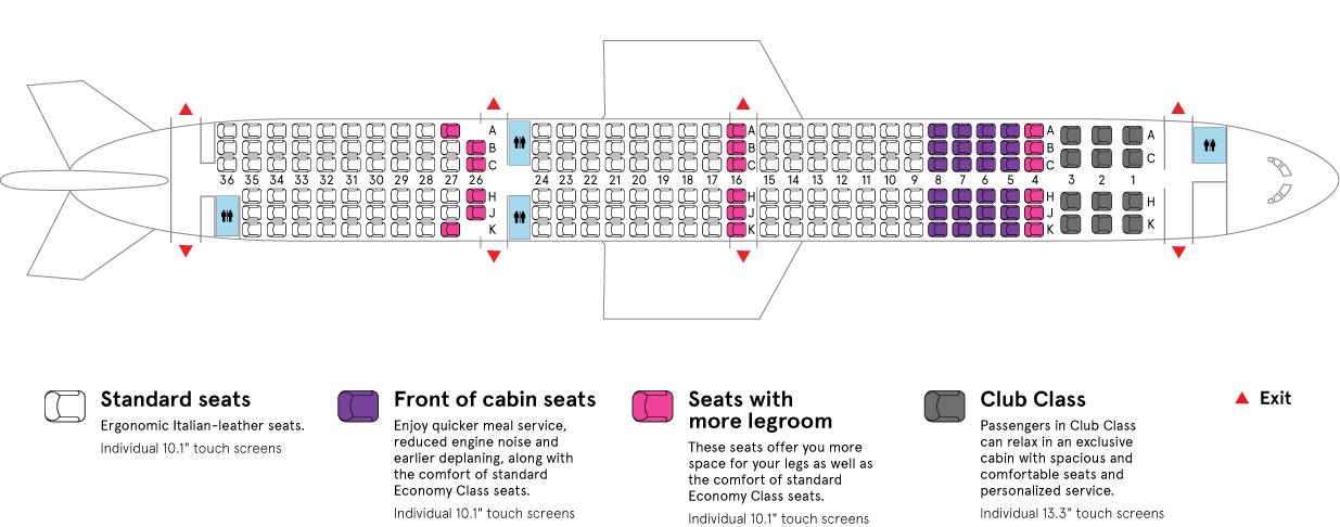 Air Transat Airbus-A321neo LR aircraft cabin