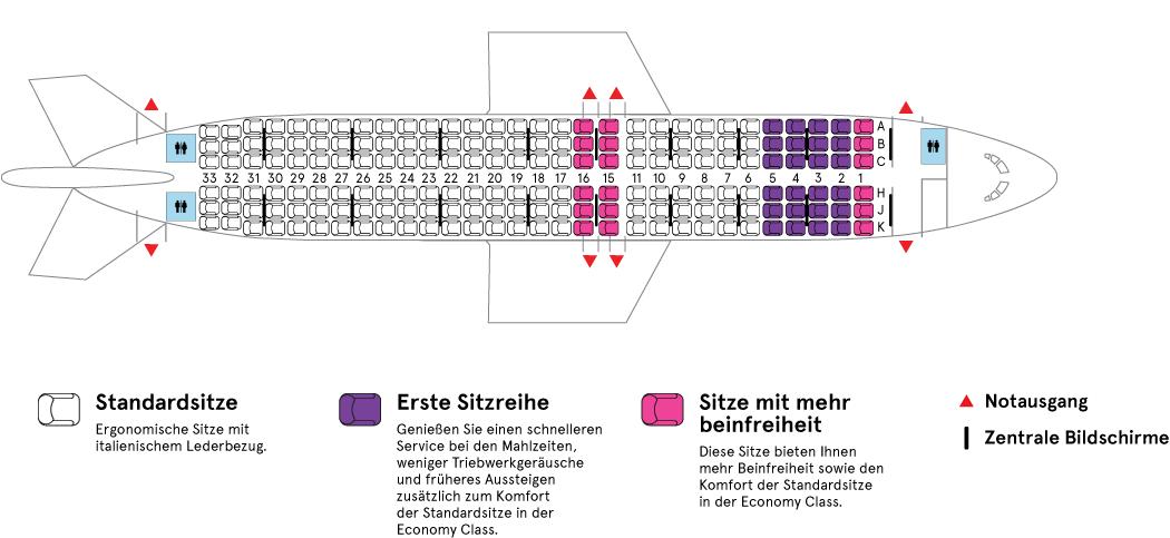 Flugzeugkabine eines Air Transat Airbus A320-200