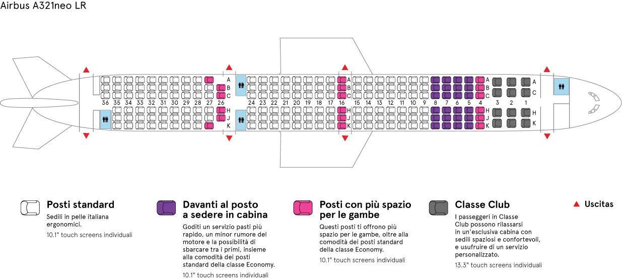 Cabina aereo Air Transat Airbus-A321neo LR
