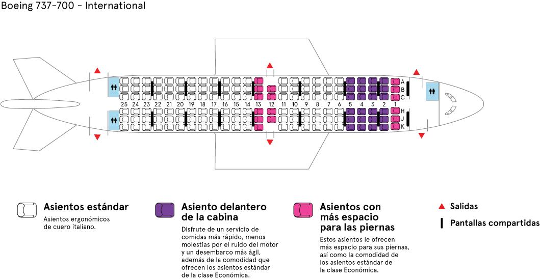 Cabina del avión Boeing 737-800 de Air Transat