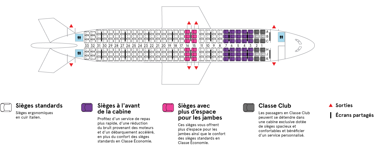 Cabine de l'Airbus A320-200 Vol Domestique Air Transat