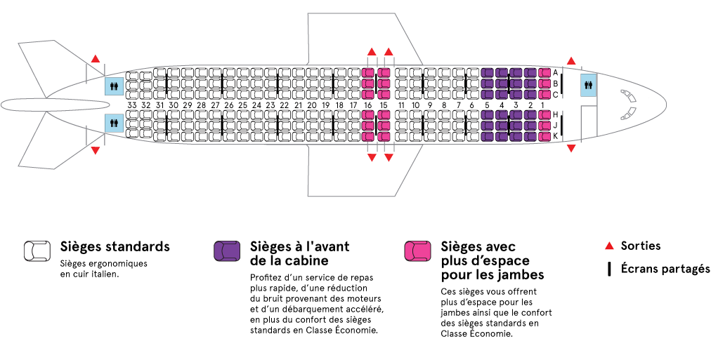 Cabine de l'Airbus A320-200 Air Transat
