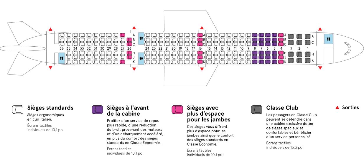 Cabine de l'Airbus-A321neo LR Air Transat